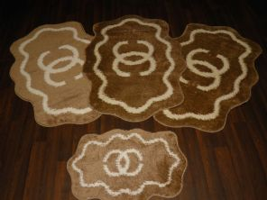 Shaped Non Slip Washable Traveller/Gypsy Mat Set 4Pc CC Dark Beige/Cream All Colours Available (1)